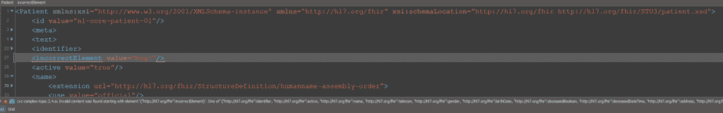 XML schema for FHIR validation