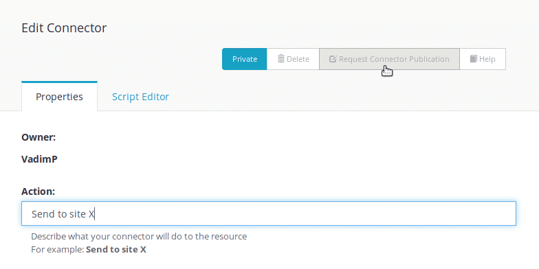 Publish your connector publicly with the 'Request Connector Publication' button in the connectors' screen